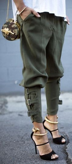 boyfriend fit, ankle length, army green pants, harem pants, cargo, bag, pants, buckled, shoes, tapered, kaki pants, leggings