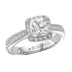 18K Diamond Cushion Cut Enagement Ring With Milgrain