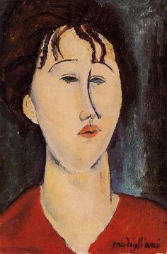 'Frauenkopf 2', öl von Amedeo Modigliani (1884-1920, Italy)