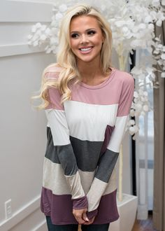 Color Block Greatness Tunic Top Mauve, Striped Top, Long Sleeve Top, Shopmvb, Women's Boutique, Online Shopping, Fashion, Style,  Modern Vintage Boutique