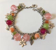 Bracciale primavera, bracciale fiori, bracciale farfalle, bracciale natura, bracciale colorato