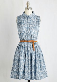 Rustic on the Road Dress - Blue, Floral, Print, Belted, Casual, Boho, Festival, A-line, Sleeveless, Woven, Better, Short, Cotton