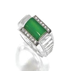 Art Deco jade and rock crystal ring, French, circa 1930  | Sotheby's