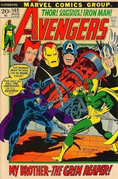 Wonder Man is dead! The Vision is not necessarily alive! They're the two men with one brainwave! The Grim Reaper has a wild and crazy scheme to bring them together like Certs as a candy mint and a breath mint!