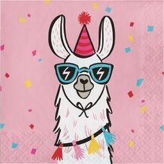 Llama Napkins, Set of Desert Party, Outdoor Party, Fiesta Party, Cactus Party Llama Birthday, 31st Birthday, It's Your Birthday, Birthday Cards, Llamas Animal, Funky Hats, Llama Print, Photo Prop, Cute Llama