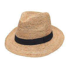 Recife Fedora Natural/Black Hats ($59) ❤ liked on Polyvore featuring accessories, hats, travel hat, gottex and fedora hats