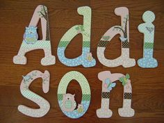 Hand-Painted Personalized Wood Letters to match Hayley Owl Bird Nursery Bedding on Etsy, $12.99
