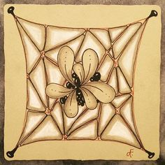 """Two of my """"go to"""" tangles together in a duotangle...#nzeppel and #flux for the @iamthediva challenge. I used a @zentangleinc Renaissance tile for an added challenge (for me anyway)  #DC290 #zentangle #string #tangle #challenge #rennaisance"""