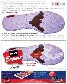 Esta es la suela del zapato, con diseño afín a la colección. Más abajo la misma suela implementada en una pieza de mercadeo interno. Año 2012 #ArtLex_ #FlashcardsVisualMerchandising Visual Merchandising, Value Proposition, Making A Difference, Catchphrase, Concept