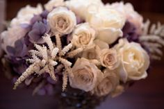 Lavender and cream centerpiece by Fleur Inc, photo by Amaris Giselle