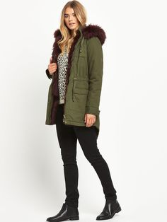 SouthPetite Luxe Faux Fur Parka - Khaki The perfect blend of form and function, this petite luxe faux fur parka by South keeps you cosy and chic through AW15!Parka coats are gathering pace as winter approaches, and with a rich burgundy faux fur lining this version is an indulgent twist on a seasonal essential! Designed for a petite fit, the drawcord fastening flaunts your curves to flatter your figure, while the dipped back hem is a classic finishing touch.Wrap up warm to keep the breeze…