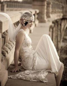 Wedding Inspiration - Great Gatsby / Lace back wedding dress. 1920s Style Wedding Dresses, Gatsby Wedding Dress, Great Gatsby Themed Wedding, Wedding Styles, Flapper Wedding, Bridal Style, Themed Weddings, Picnic Weddings, Wedding Picnic