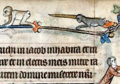 Monkey and unicorn, book of hours, Flanders ca. 1300 (Cambridge, Trinity College B.11.22, fol. 11r)