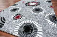 """7x10 Abstract Gray Rug Modern Black White Red Stars Room Size Carpet 6'6""""x9'2"""" #Suntex #Contemporary"""