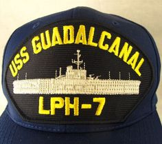 USS Guadalcanal LPH-7 Hat Adjustable Cap Vintage Snapback Navy Aircraft Carrier #Nissun #BaseballCap