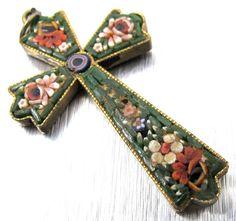 Vintage Micro Mosaic Cross Pendant Italian by TonettesTreasures
