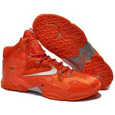 1e5b80ca07a New 616175 800 Nike Lebron XI Orange Silver Factory Outlet