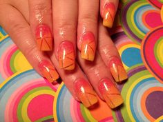 Gel nails, ombré, orange, yellow