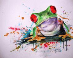 Tree Frog aquarel schilderij oorspronkelijke Limited Edition Giclee Print van mijn originele aquarel schilderij. Kunst aan de muur, Living Room Decor 8 x 10