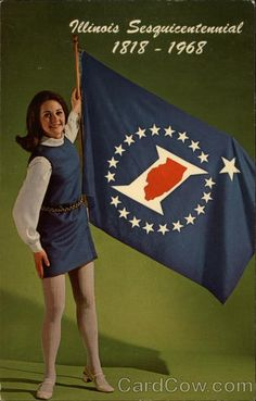 Illinois Sesquicentennial, 1818-1968 Ed Dams Flags