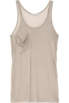 Kain|Classic modal and silk-blend tank|Build the perfect capsule wardrobe around luxurious separates like Kain's super soft modal and silk-blend tank. The neutral taupe hue makes it the perfect partner to everything from boho chic maxi skirts to statement shorts.