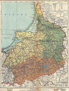Map of the province of East Prussia in 1917 Old World Maps, Old Maps, Vintage World Maps, Road Trip Map, Bible Mapping, Map Globe, Country Maps, Alternate History, Prussia