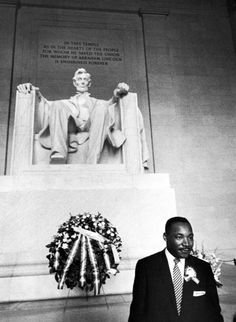 """Here is Martin Luther King Jr. in front of the gigantic statue of Abraham Lincoln at the Lincoln Memorial. This is where he gave his famous """"I have a dream"""" speech. You will be able to stand in this very same place."""