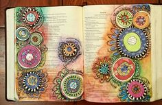 """Original Bible Art Journaling Challenge Week 24 Psalms 48:12-13 Walk about Zion and go around her; Count her towers; 13 Consider her ramparts; Go through her palaces, That you may tell it to the next generation. I was inspired by the artwork of Sue Setter. The circles on my entry represent my towers that I am thankful as I walk through life. Hopefully my journaling Bible will be shared with the next generation. I also included lyrics from """"Blessed"""" by Martina McBride."""