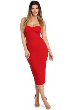 Geraldine Red Bustier Midi Dress   WindsorCloud