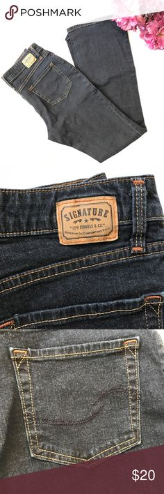 """Signature by Levi Strauss & Co jeans size 8 long This is a pre owned dark tone jeans by Signature by Levi Strauss & Co. """"At waist boot cut"""" style. It's size Misses 8 Long. Made of 98% cotton and 2% elastane.   Check images and don't hesitate to ask questions.  Also feel free to check out my closet for more, reasonable offers are always welcomed and accepted. Bundle and save ❤️ love bundling 🌹 Signature by Levi Strauss Jeans Boot Cut"""