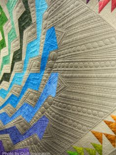 close up, Byrne's Spiral by Beth Nufer and Clem Buzick, quilted by Clem Buzick. 1st place, Innovative Large Mixed, 2014 Road to California. Photo by Quilt Inspiration