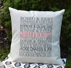Personalized  Famous couples gift, valentines pillow typography wedding pillow, valentines gift idea COVER 16 x 16 on Etsy, $25.00