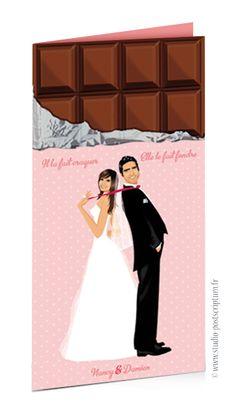 Faire-part de mariage original romantique gourmand vintage tablette chocolat vieux rose vintage à pois – gourmandise chic – candy bar - sweet wedding invitation card save the date © www.studio-postscriptum.fr