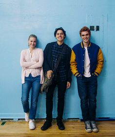 Lili Reinhart, Cole Sprouse and KJ Apa pose as Betty Cooper, Jughead Jones and Archie Andrews for a promotional photoshoot for Riverdale