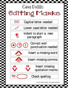 Editing Marks for Writing for 3rd grade   Elementary Editing Marks ...