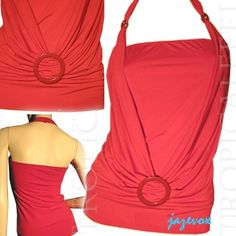 *SOLD* USA MADE NEW Womens RED DRAPE TUBE HALTER TOP BLOUSE O-RING Beads Clothing $1 sorry SOLD ... we sell more WOMENS TOPS and DRESSES at http://www.TropicalFeel.com