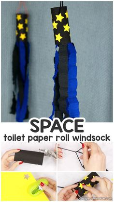 Space Windsock Toilet Paper Roll Craft - Easy Peasy and Fun - Cheers with Charlotte - Space Windsock Toilet Paper Roll Craft - Easy Peasy and Fun Space Windsock Toilet Paper Roll Craft for Kids Outer Space Activities for Kids Outer Space Crafts For Kids, Space Theme Preschool, Space Activities For Kids, Preschool Activities, Craft Space, Space Kids, Halloween Activities, Theme Galaxy, Planet Crafts