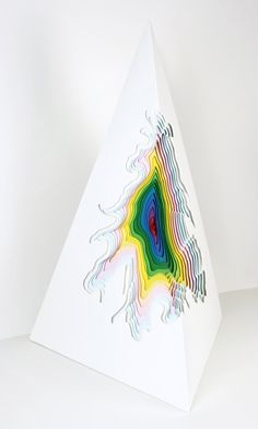 "Jen Stark - Divinity / 36"" x 15"" x 15"" / varnished acrylic paint on wood / 2009"