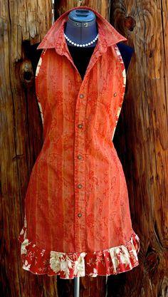 Rusty Orange Apron by TheVintageBlvd on Etsy, $25.00