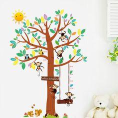 large monkey tree wall stickers decals animals birds tree adesivo wallpaper mural kids home bedroom nursery adhesive decorations Cartoon Trees, Murals For Kids, Bird Tree, Cartoon Monkey, Nursery Wall Decals, Tree Wall, Cool Walls, Kids House, Decoration