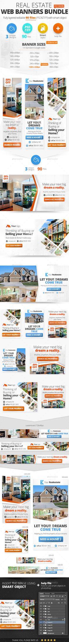 Real Estate Web Banners Bundle Template #design #ads #web Download: http://graphicriver.net/item/real-estate-web-banners-bundle/12506855?ref=ksioks