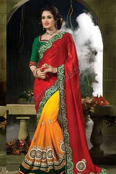 Maroon orange en mousseline de soie Georgette net Saree avec Green Art Silk Blouse Conception n ° DMV7320 Prix- 145,07 € Type de robe: Saree Tissu: Mousseline avec Georgette NET PLUS Couleur: Marron avec Orange Décoration: brodé, Patch, Resham, pierre, Zari travail Pour plus de détails: - http://www.andaazfashion.fr/maroon-orange-chiffon-georgette-net-saree-with-green-art-silk-blouse-dmv7320.html