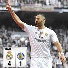 """Real Madrid 4-1 Getafe ⚽️ 04' @karimbenzema ⚽️ 16' @karimbenzema ⚽️ 35' @garethbale11 ⚽️ 38' @cristiano ⚽️ 70' Alexis #RMLiga #HalaMadrid"""