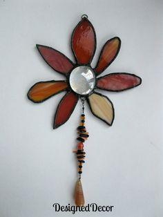 Orange Flower stained glass sun catcher by:  DesignedDecor