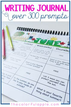 A full year of writing journal prompts for elementary students! A great addition to your writing curriculum. Includes writing journal covers, prompts organized into monthly calendars and a variety of writing pages with room for illustrations and writing. Kindergarten Writing Prompts, Writing Curriculum, Writing Prompts For Writers, Writing Topics, Teaching Writing, Writing Skills, Writing Activities, Writing Ideas, Preschool Journals