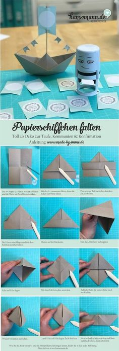 DIY paper boat with pennant chain - nice decoration for confirmation, communion . DIY paper boat with pennant chain – nice decoration for confirmation, communion & baptism made-by-imme. Communion Invitations, Diy Invitations, Decoration Communion, Diy Paper, Paper Crafts, Papier Diy, Kids Origami, Garden Party Decorations, Baby Co