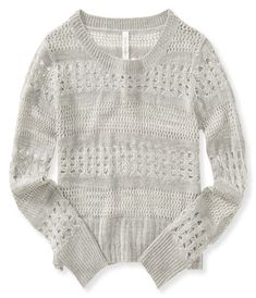 Pretty lacy eyelet open-knit sweater in light gray from Aeropostale - nice lightweight sweater for spring