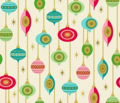 Vintage Christmas Baubles fabric by retrorudolphs on Spoonflower - custom fabric