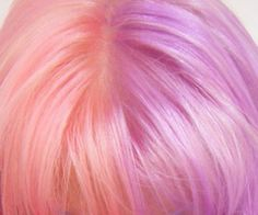Pastel/cotton candy pink and purple/lavender/lilac half and half hair color