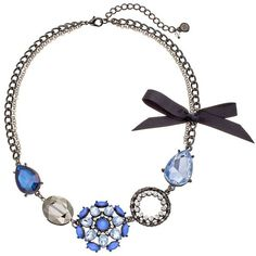 Simply Vera Vera Wang Flower & Bow Necklace (Blue) ($9.99) ❤ liked on Polyvore featuring jewelry, necklaces, blue, blossom jewelry, bow necklace, blossom necklace, floral jewelry and flower necklace